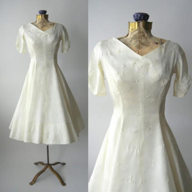 1950s dress vintage ivory satin wedding dress retro 50s for Vintage ivory wedding dresses