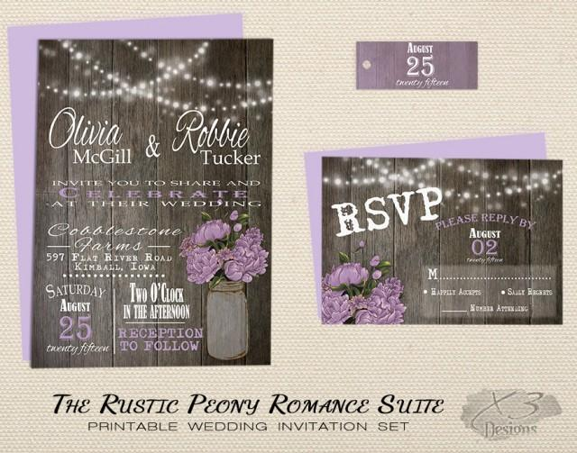 wedding photo - Rustic Mason Jar Wedding Invitations
