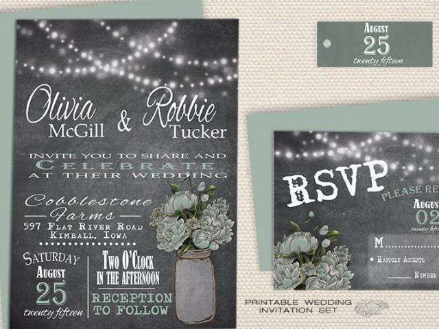 wedding photo - Mason Jar Wedding Invitations Printable
