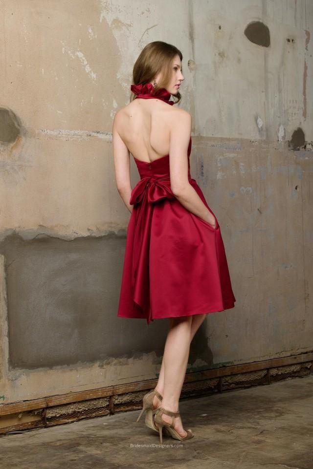 wedding photo - Beautiful Red Ruffle Neck Halter Knee Length A-line Pleated Satin Bridesmaid Dress
