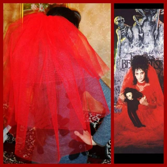 Halloween Party Veil 3-tier Red, Halloween Costume Idea. Lydia ...