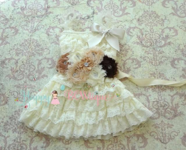 wedding photo - Rustic Flower girls' dress-Ivory Embellished lace dress,baptism dress,1st Birthday dress,Baby Girls Baptism dress,Fall Country dress,Burlap