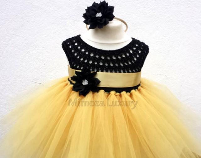 media gold flower girl dress tutu bridesmaid golden princess crochet tulle hand knit