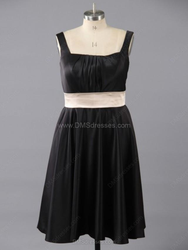wedding photo - A-line Satin Square Neckline Sashes/Ribbons Tea-length Bridesmaid Dresses in Australia