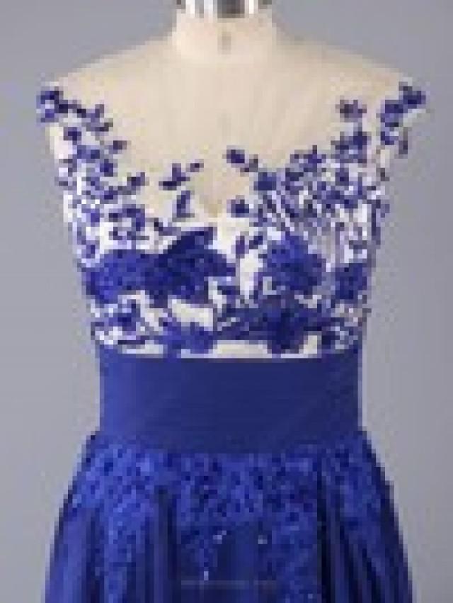 wedding photo - Empire Tulle Chiffon Scoop Neck Beading Sweep Train Formal Dresses in Australia