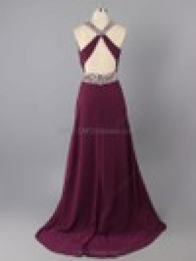 wedding photo - Sheath/Column Chiffon Scoop Neck Beading Floor-length Formal Dresses