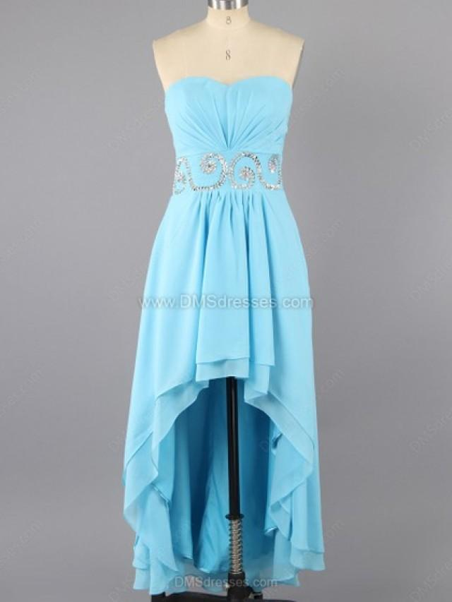 wedding photo - A-line Chiffon Sweetheart Beading Asymmetrical Formal Dresses