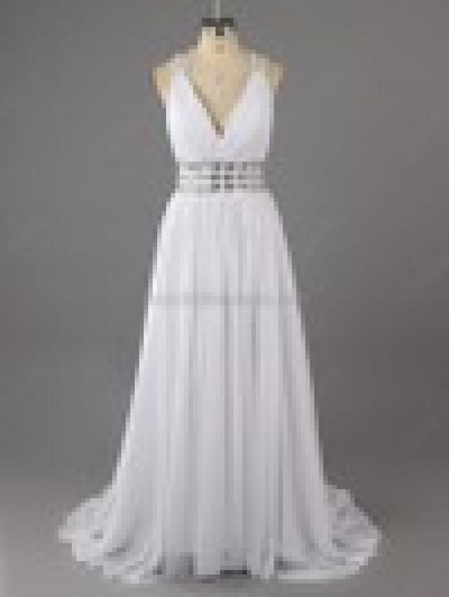 wedding photo - A-line Chiffon V-neck Rhinestone Floor-length Formal Dresses