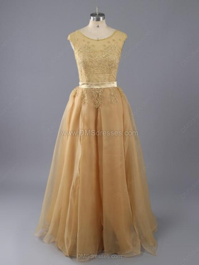 wedding photo - A-line Chiffon Tulle Scoop Neck Beading Floor-length Formal Dresses