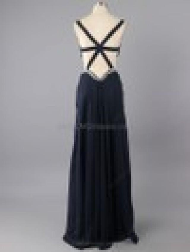 wedding photo - A-line Chiffon V-neck Beading Ankle-length Formal Dresses