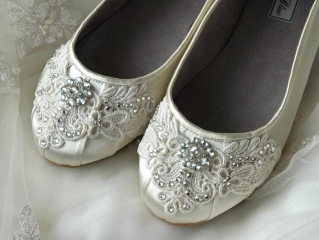 Womens Wedding Shoes Lace Ballet Flats Accessories Bridal Vintage Embellished Flat