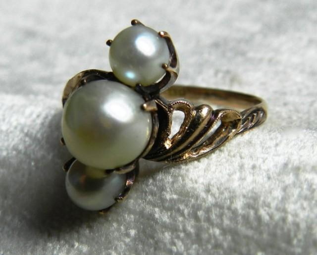 Pearl Ring Pearl Engagement Ring Art Deco 3 Pearl 1920s