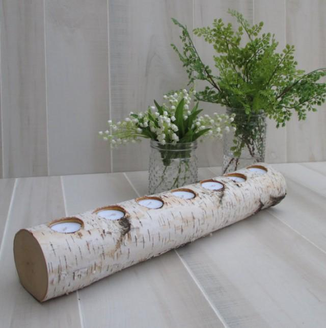 Birch Log Led Tea Light Candle Holder Wedding Home Decor Table Centerpiece Yule Log Wood Fireplace Mantle Decor Christmas Holiday 2376288 Weddbook