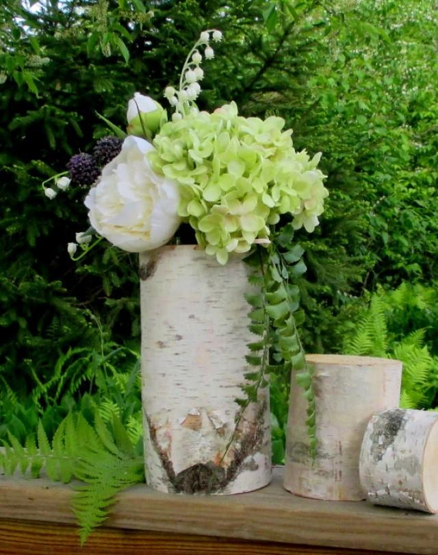 Bridal shower birch log vase centerpieces wedding home