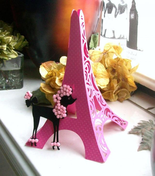 D eiffel tower table centerpiece cake topper bright