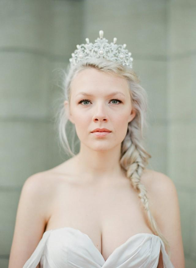 Full Bridal Crown With Pearls Alexandra Swarovski Crystal