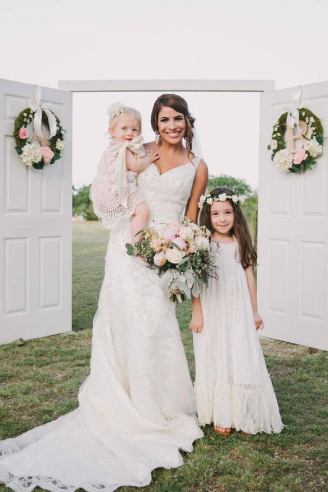 Girls lace maxi dress lace flower girl dress ivory lace for Country wedding flower girl dresses