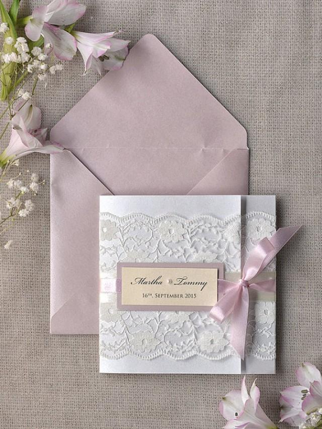 custom listing 100 pink lace wedding invitation ivory With custom pocket wedding invitations online