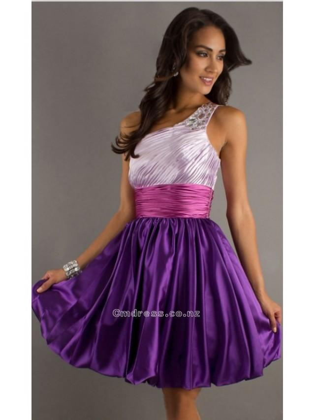 wedding photo - A Line One Shoulder Elastic Satin Short Prom DressSKU: PD000885