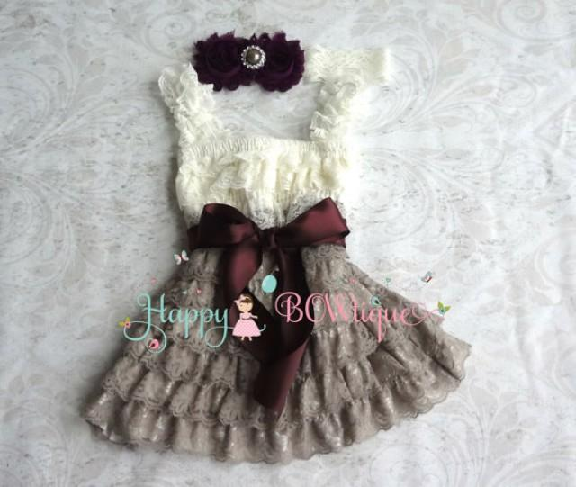 wedding photo - flower girl dress, Ivory Grey Dark Plum Lace Dress set baby girls' dress, Girls 1st Birthday dress, Flower Girls Dress, Ivory dress, Rustic