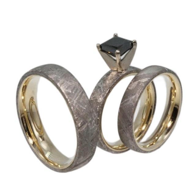 Yellow Gold Meteorite Ring Set Black Diamond Princess Cut Diamond His And
