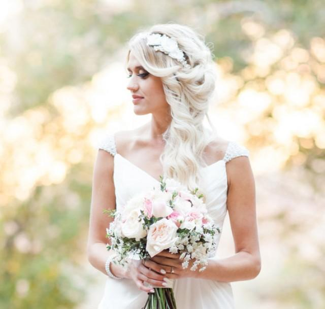 Flower Wedding Headpieces: Pearl Headband, Bridal Headpiece, Pearl Flower Crown