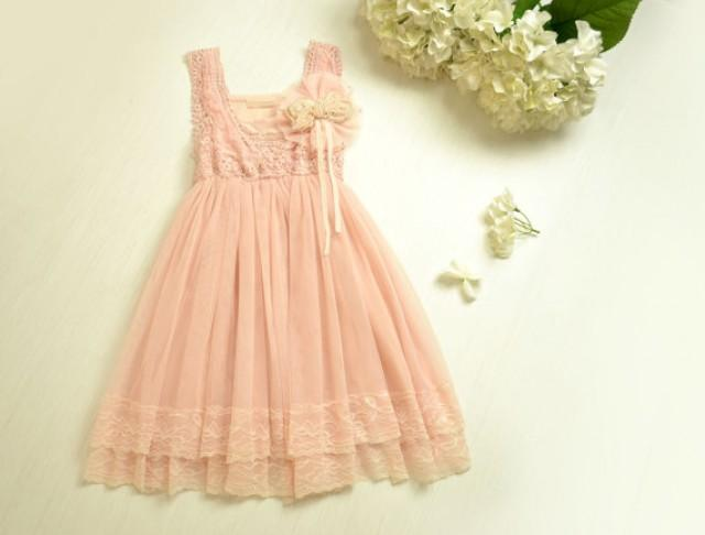 Vintage pink lace girls dress flower girl bridesmaid dress for Country wedding party dresses
