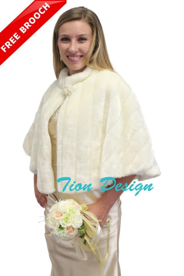 fd3d4bf7b52c Bridal wrap, Ivory Faux Fur Mink Cape, faux fur shrug, faux fur shawl, faux  fur wrap, faux fur stole, bridal fur stole Free BROOCH