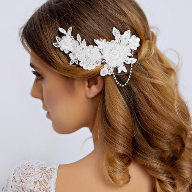 lace headpiece, lace hair comb, lace hair piece, bridal hair clip, bridal hairpiece with pearls, wedding headpiece, crystals, ivory lace thehoneycomb 5 out of 5 stars.