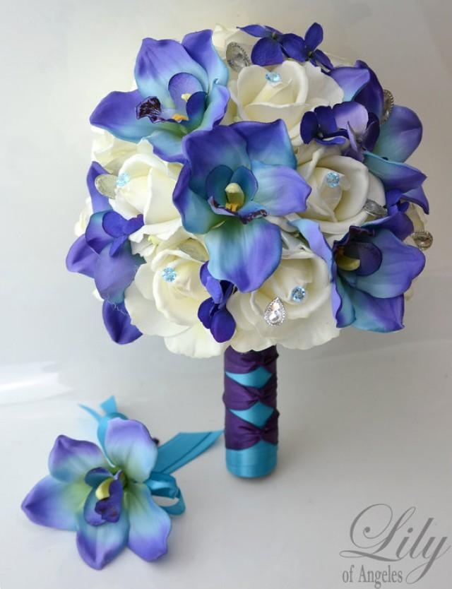 Bridal Bouquet Wedding Silk Real Touch Flowers Bride Groom