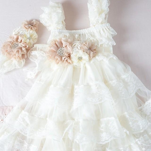 Ivory Lace Flower Girl Dress Ivory Lace Baby Doll Dress