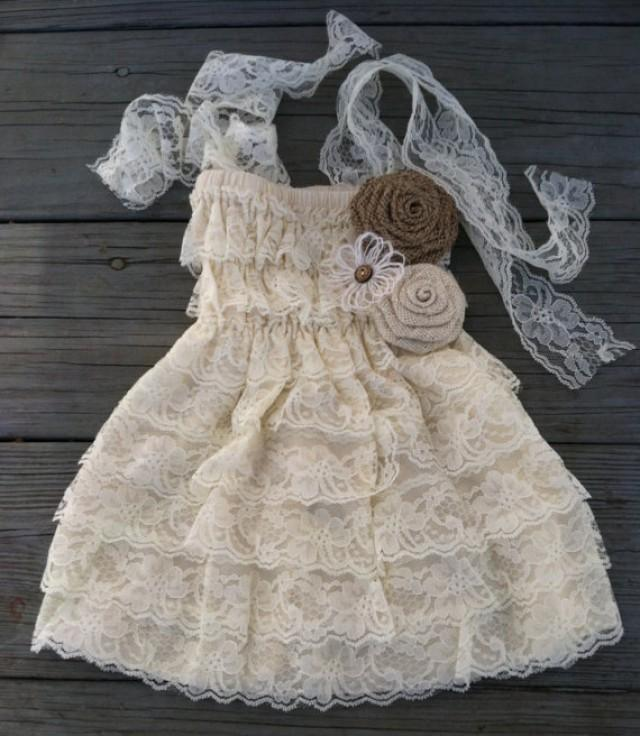 Rustic lace flower girl dress rustic flower girl dress for Country wedding flower girl dresses