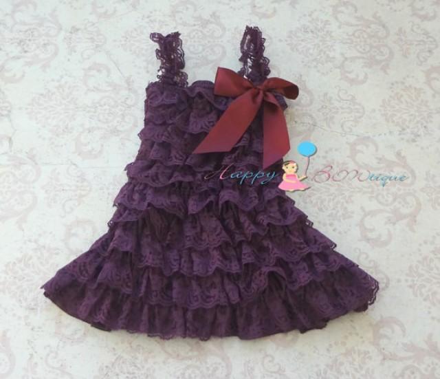 wedding photo - Dark Purple Plum Lace Dress, baby girls dress, ruffle dress,baby dress,Birthday outfit, girls outfit, flower girl dress, Purple dress, baby