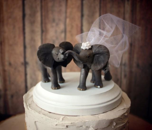 Elephant Wedding Cake Topper Elephant Lover Circus Bride