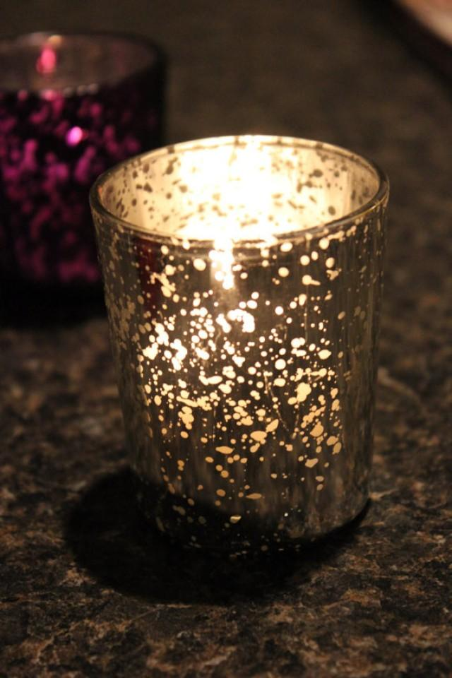 Set of 50 mercury glass silver speckled glass candle for Christmas pillar candle holders