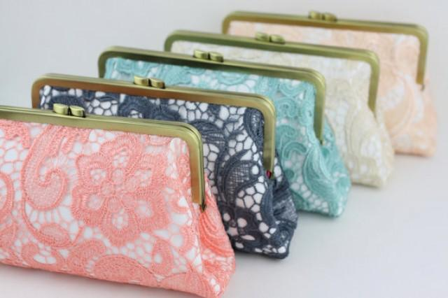 wedding photo - Lace Wedding Clutches / Rustic Lace Bridal Purse / Elegant Bridesmaid Clutch Gifts - Set of 6