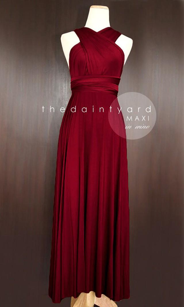 Maxi wine red bridesmaid dress prom dress wedding dress for Short red and white wedding dresses