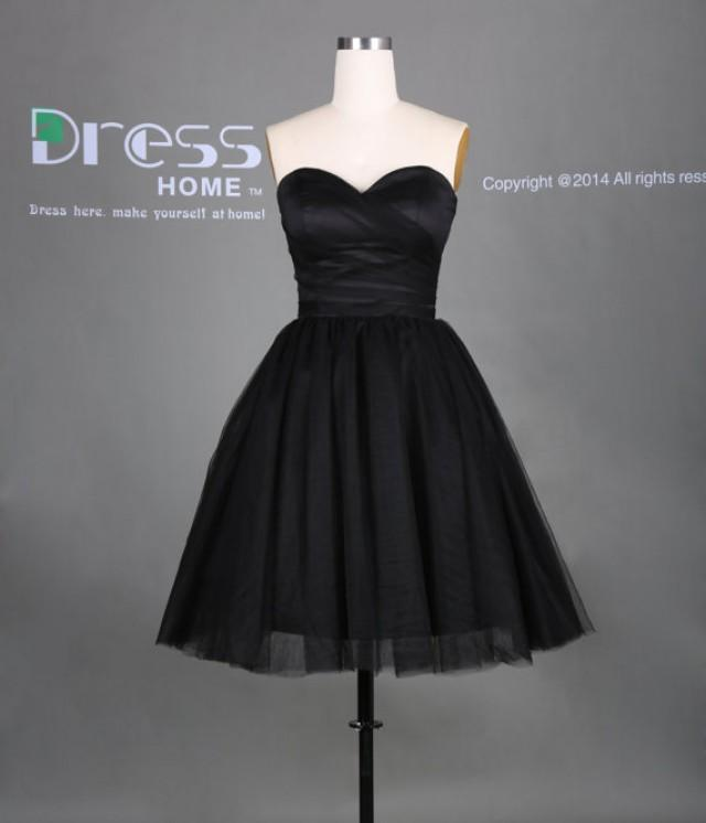 Simple black sweetheart neckline ball gown short for Little black wedding dress