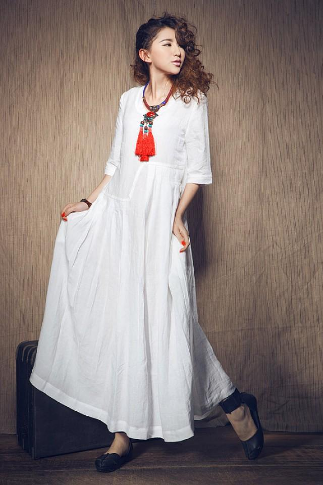 White dress wedding maxi linen dress in stock xxl xxxl for Long maxi dresses for weddings