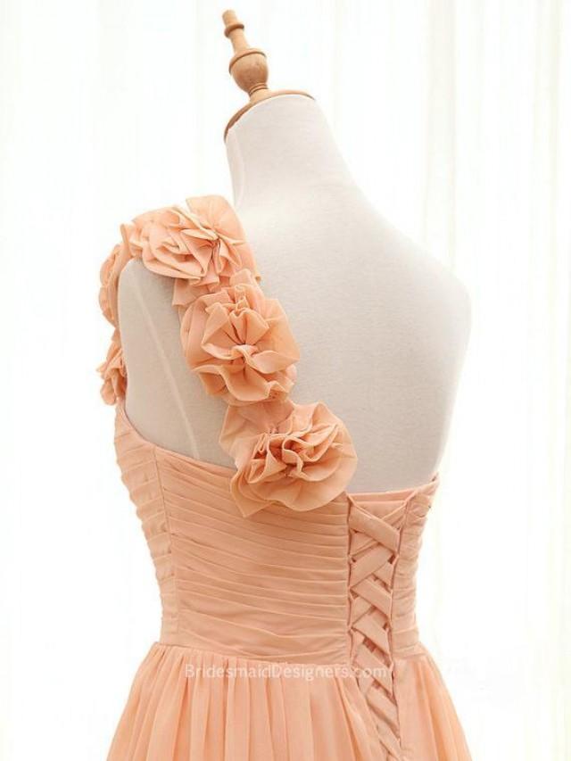 wedding photo - Classical Peach Flower One Shoulder Long Chiffon Bridesmaid Dress
