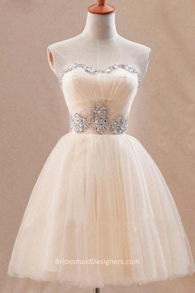 wedding photo - Peach Strapless Sweetheart Beaded Short Ball Gown Tulle Bridesmaid Dress