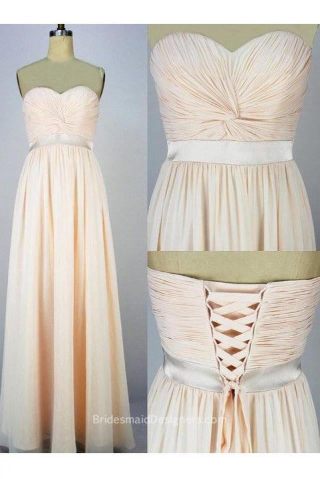 wedding photo - Peachy Strapless Sweetheart Long Chiffon Lace Up Bridesmaid Dress