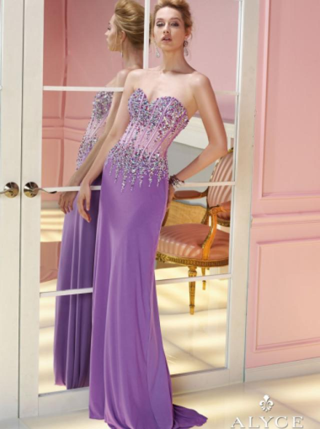 wedding photo - A-line Sweetheart Natural Floor Length Sleeveless Beading Zipper Up Chiffon Light Purple Prom / Homecoming / Cocktail Dresses By Alyce 6232