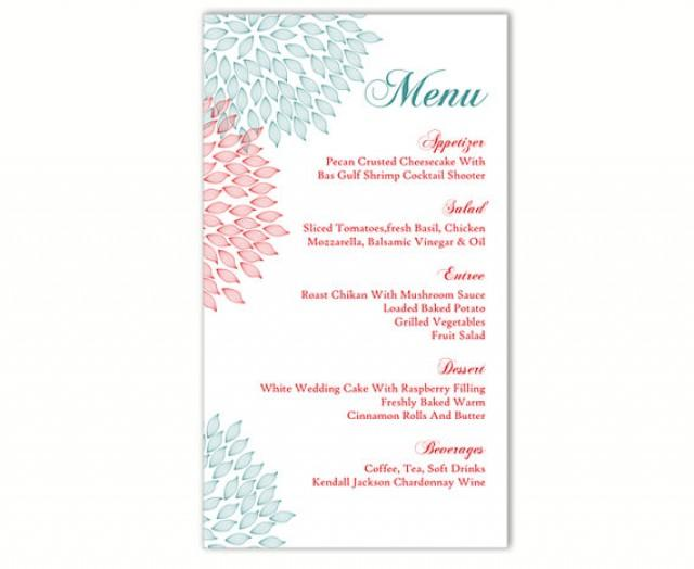 wedding menu template diy menu card template editable text word file instant download blue red. Black Bedroom Furniture Sets. Home Design Ideas