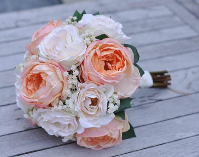 wedding flower package made with peach cabbage roses and cream roses in silk flowers 2379817 weddbook
