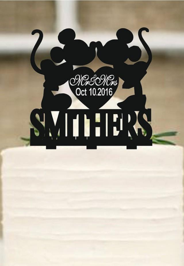 wedding photo - Custom Cake Topper,Wedding Cake Topper,Personalized Cake Topper,Mickey and Minnie Cake Topper,Bride and Groom Topper,Funny cake topper