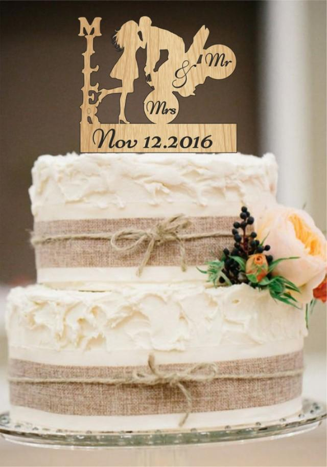 wedding photo - Wedding Cake Topper,Mr and Mrs Cake Topper,Personalized Cake Topper,Rustic Wedding Cake Topper,Mr and Mrs with a Motorcycle,cake decor
