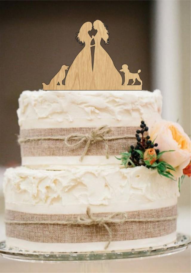 wedding photo - Lesbian Cake Topper, Same Sex Cake Topper,Mrs and Mrs Wedding Cake Topper, dog cake topper,Rustic Wedding Cake
