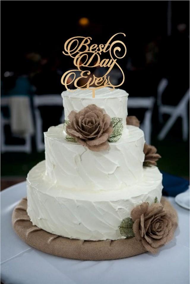wedding photo - Best Day Ever Wedding Cake Topper, Monogram Wedding Cake Topper, Rustic Wedding Decor, Rustic Cake Topper, acrylic wedding cake topper