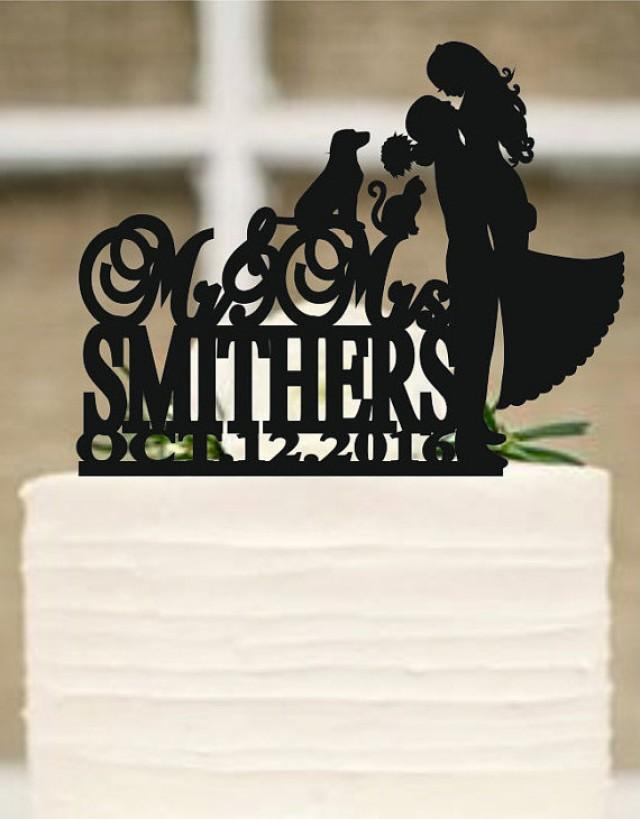 wedding photo - Wedding Cake Topper Silhouette Couple, Dog and cat Cake Topper, Bride and Groom Cake Topper - cake decor - wedding decoration -Rustic topper